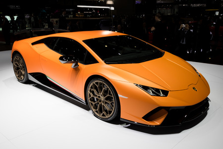 GENEVA, SWITZERLAND - MARCH 7, 2017: New Lamborghini Huracan Performante sports car world premiere at the 87th Geneva International Motor Show