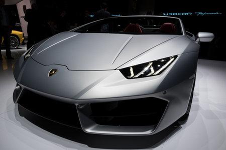 GENEVA, SWITZERLAND - MARCH 7, 2017: Lamborghini Huracan RWD Spyder sports car presented at the 87th Geneva International Motor Show. Stok Fotoğraf - 79291514