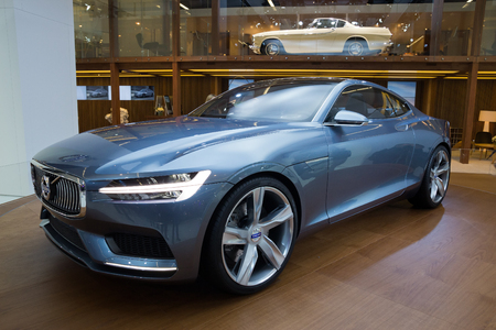 FRANKFURT, GERMANY - SEP 13: Volvo Concept Coupé at the IAA motor show on Sep 13, 2013 in Frankfurt. More than 1.000 exhibitors from 35 countries are present at the worlds largest motor show.
