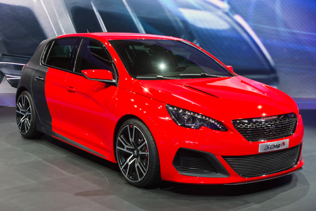 FRANKFURT, GERMANY - SEP 13: Peugeot 308 R concept car at the IAA motor show on Sep 13, 2013 in Frankfurt. More than 1.000 exhibitors from 35 countries are present at the worlds largest motor show.