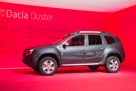 FRANKFURT, GERMANY - SEP 13: Dacia Duster at the IAA motor show on Sep 13, 2013 in Frankfurt. More than 1.000 exhibitors from 35 countries are present at the worlds largest motor show.