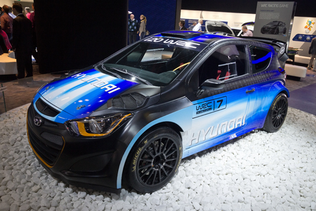 FRANKFURT, GERMANY - SEP 13: Hyundai i20 WRC at the IAA motor show on Sep 13, 2013 in Frankfurt. More than 1.000 exhibitors from 35 countries are present at the worlds largest motor show.
