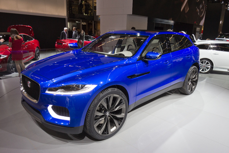 iaa: FRANKFURT, GERMANY - SEP 13: Jaguar C-X17 at the IAA motor show on Sep 13, 2013 in Frankfurt. More than 1.000 exhibitors from 35 countries are present at the worlds largest motor show.