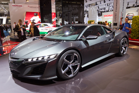 FRANKFURT, GERMANY - SEP 13: Honda NSX concept car at the IAA motor show on Sep 13, 2013 in Frankfurt. More than 1.000 exhibitors from 35 countries are present at the worlds largest motor show.