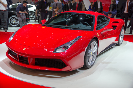 GENEVA, SWITZERLAND - MARCH 4, 2015: New Ferrari 488 GTB world premiere at the 85th International Geneva Motor Show in Palexpo. The 488GTB is a heavily re-engineered replacement of the Ferrari 458. Editorial