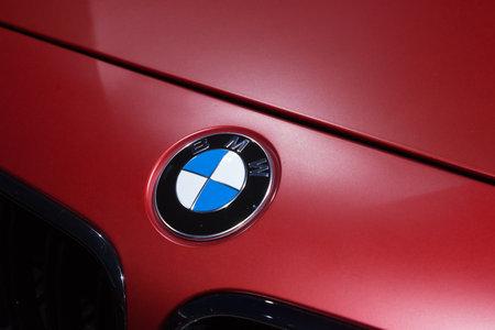FRANKFURT, GERMANY - SEP 13: BMW symbol on a BMW M6 Cabrio at the IAA motor show on Sep 13, 2013 in Frankfurt, Germany