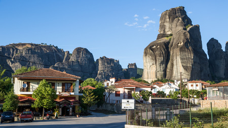 KALAMBAKA, GREECE - MAY 5, 2017: View from the village Kalambaka on the famous Meteora rock formation.