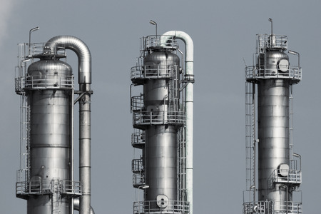 Cooling towers at an oil and gas refinery industrial plant.