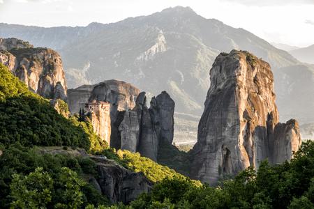 kalabaka: View of the landscape around the Monastery of Rousanou (St. Barbara) on a monolithic pillar in Meteora, Pindos Mountains, Greece
