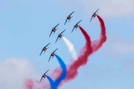 PARIS-LE BOURGET, FRANCE - JUN 23, 2017: Patrouille de France aerobatics team performing at the Paris Air Show 2017.