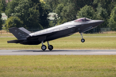 PARIS, FRANCE - JUN 23, 2017: US Air Force Lockheed Martin F-35 Lightning II flghter jet flying a demo on its debut at the Paris Air Show 2017 Editorial
