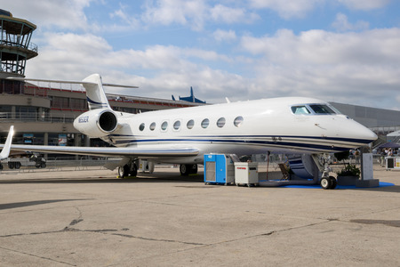 PARIS, FRANCE - JUN 23, 2017: Gulfstream G650ER business jet at the Paris Air Show 2017 Editorial