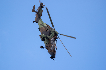 PARIS, FRANCE - JUN 23, 2017: French Army Eurocopter-Airbus EC665 Tigre attack helicopter flying at the Paris Air Show 2017