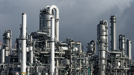 Pipework at a petrochemical industrial plant