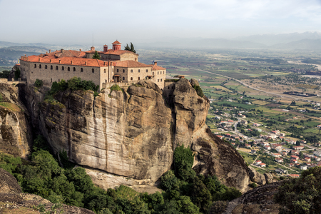 kalabaka: Scenic view on the Monastery of St. Stephen and its surrounding landscape in Meteora, Greece