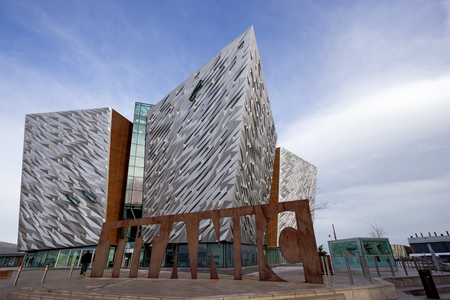 BELFAST, NORTHERN IRELAND - FEB 9, 2014: Titanic visitor attraction and a monument.
