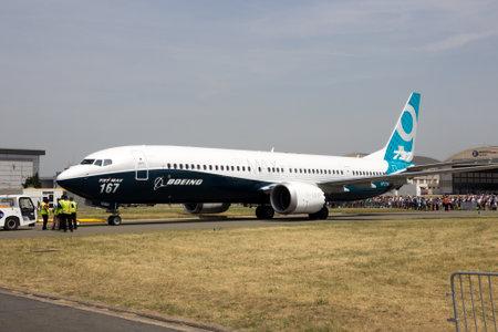 PARIS, FRANCE - JUN 22, 2017: New Boeing 737-9 MAX at the Paris Air Show 2017.