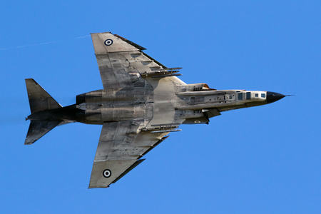 LARISSA, GREECE - MAY 4, 2017: Hellenic Air Force RF-4E Phantom II jet flyby on one of its last flights. 348 Reconnaissance Squadron suspends operations after 64 years.