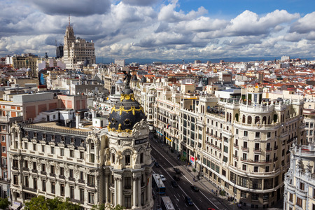 MADRID, SPAIN - OCT 10, 2014: Panoramic view on Gran Via, the main shopping street in Madrid, Spain. Editorial