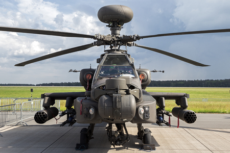 BERLIN - JUN 2, 2016: British Army AH-64D attack helicopter on display at the Berlin ILA Airshow