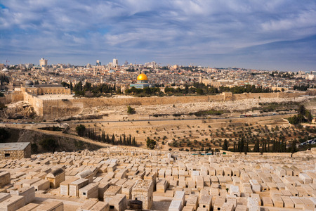 View on Jerusalem and the Temple Mount with the Dome of the Rock and the Mount of Olives. Palestine-Israel Stock Photo