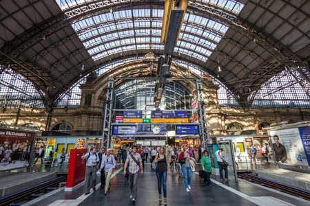 FRANKFURT, GERMANY - JUL 11, 2013: Inside the Frankfurt central train station. With about 350.000 passengers per day its the most frequented railway station in Germany. Editorial