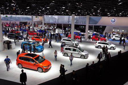 FRANKFURT, GERMANY - SEP 16, 2015: New Volkswagen cars shown during IAA 2015 motor show. Imagens - 83707967