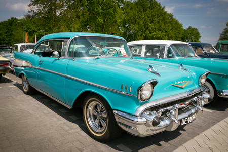 DEN BOSCH, THE NETHERLANDS - MAY 10, 2015: Turquoise 1957 Chevrolet Bel Air classic car. Editorial