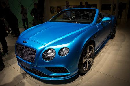 FRANKFURT, GERMANY - SEP 16, 2015: Bentley Continental GT Speed convertible car at the Frankfurt IAA Motor Show.