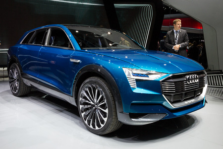 FRANKFURT, GERMANY - SEP 16, 2015: Audi E-tron Quattro concept car at the Frankfurt IAA Motor Show.