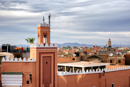 Mosque minaret in the historical walled medina in Marrakesh. Morocco