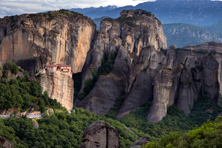 kalabaka: Scenic view on the Rousanou monastery on a monolithic pillar and its surrounding rocky landscape in Meteora, Greece Stock Photo