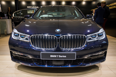 BRUSSELS - JAN 19, 2017: BMW 740 car on display at the Motor Show Brussels.