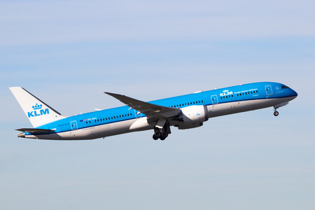 AMSTERDAM-SCHIPHOL - FEB 16, 2016: KLM Royal Dutch Airlines Boeing 787 Dreamliner airplane take-off from Schiphol airport.