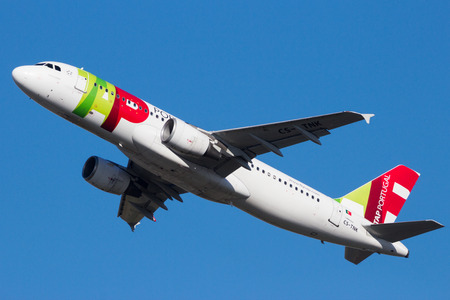 AMSTERDAM-SCHIPHOL - FEB 16, 2016: Airbus A320 airplane from TAP Air Portugal taking off from Amsterdam-Schiphol airport