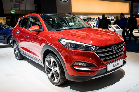 BRUSSELS - JAN 19, 2017: New 2017 Hyundai Tucson car presented at the Motor Show Brussels. Editorial