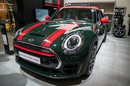 BRUSSELS - JAN 19, 2017: Mini John Cooper Works car on display at the Brussels Autosalon motor show.