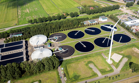 ROTTERDAM, THE NETERLANDS - Aerial view of a water treatment plant in the Port of Rotterdam. 에디토리얼