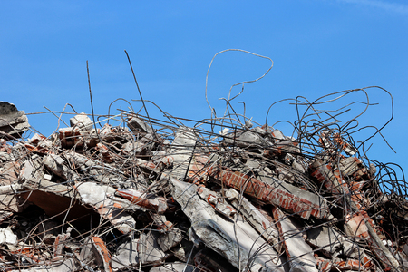 heavy industry: Pile of rubble from a dismantled building at a demolition site.