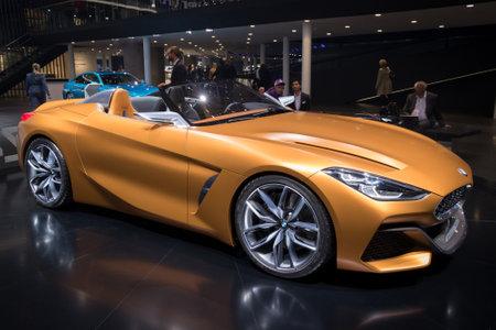 FRANKFURT, GERMANY - SEP 13, 2017: New BMW Concept Z4 sports car presented at the Frankfurt IAA Motor Show 2017.