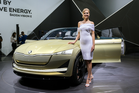 FRANKFURT, GERMANY - SEP 13, 2017: Skoda Vision E electric car at the Frankfurt IAA Motor Show 2017.