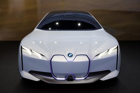 FRANKFURT, GERMANY - SEP 13, 2017: BMW i Vision Dynamics electric concepot car debut at the Frankfurt IAA Motor Show 2017.