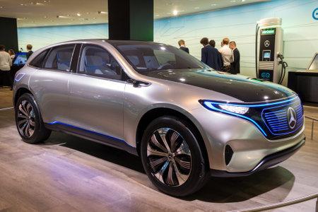 FRANKFURT, GERMANY - SEP 13, 2017: Mercedes Benz EQ Concept electric SUV car at the Frankfurt IAA Motor Show.2017. Editorial