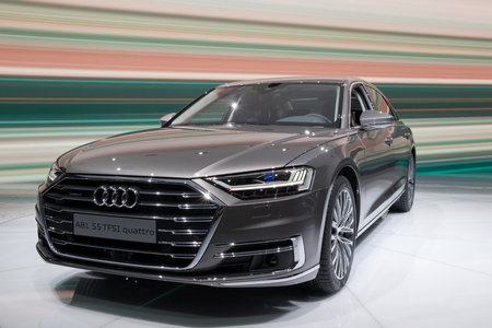 FRANKFURT, GERMANY - SEP 13, 2017: New 2018 Audi A8 L Quattro car at the Frankfurt IAA Motor Show 2017.
