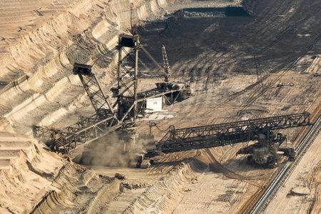 GARZWEILER, GERMANY - Bucket-wheel excavator mining lignite (brown-coal) in the Garzweiler open pit mine from RWE Tagebau. Editorial