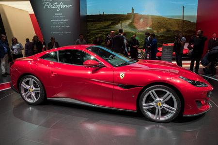 FRANKFURT, GERMANY - SEP 13, 2017: New Ferrari Portofino sports car debut at the Frankfurt IAA Motor Show 2017.