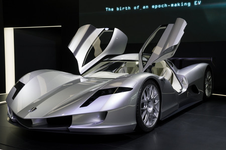 FRANKFURT, GERMANY - SEP 13, 2017: Aspark Owl Electric Supercar Concept presented at the Frankfurt IAA Motor Show 2017. Aspark claims it hits 62 mph in 2 seconds.