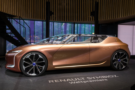FRANKFURT, GERMANY - SEP 13, 2017: New all-electric autonomous Renault Symbioz concept car debut at the Frankfurt IAA Motor Show 2017.