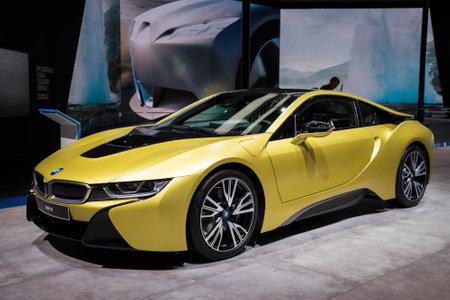 FRANKFURT, GERMANY - SEP 12, 2017: BMW i8 Protonic Frozen Yellow Edition sports car showcasedat the Frankfurt IAA Motor Show 2017.