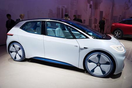 FRANKFURT, GERMANY - SEP 13, 2017: 2020 Volkswagen ID Concept autonomous electric car shown at the Frankfurt IAA Motor Show 2017. Editorial